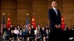 美国总统奥巴马在上海与青年面对面