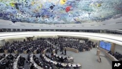 Overview of the U.N. Human Rights Council during the emergency debate on human rights and humanitarian situation in Syria, at the United Nations in Geneva, February 28, 2012