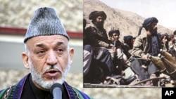 (左图)阿富汗总统卡尔扎伊;(右上)1996年拍摄的喀布尔附近的塔利班战士