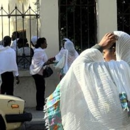 Migrant domestic workers from Ethiopia outside a Beirut church say life is hard in Lebanon, and abuses are common. But, they add, they couldn't find any work at home, 03 Nov 2010