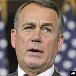 House Speaker John Boehner of Ohio speaks with reporters on Capitol Hill in Washington, DC, June 23, 2011