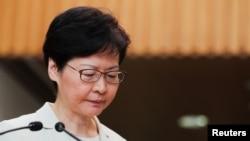 香港特首林郑月娥2019年9月5日在香港的记者会上。