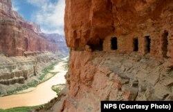 Prehistoric granaries along the Colorado River.