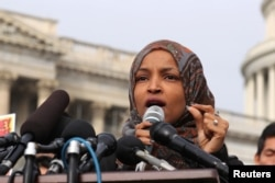 FILE - U.S. Representative Ilhan Omar speaks at a news conference at the U.S. Capitol in Washington, Feb. 7, 2019.