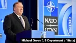 AQSh Davlat kotibi Mayk Pompeo Vashingtonda o'tgan NATO yig'inida.