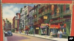 A mid-century postcard for tourists shows New York City's Chinatown.