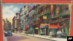 A mid-century postcard for tourists to New York City's Chinatown