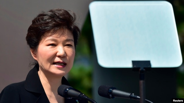 FILE - South Korean President Park Geun-hye delivers a speech.