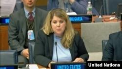 24일 유엔본부에서 열린 유엔총회 제1위원회 회의에서 미국 정부 대표로 참석한 레이첼 힉스 씨가 발언하고 있다.