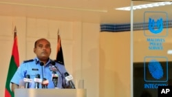 Maldives' Deputy Police Commissioner Abdullah Nawaz speaks during a press conference as he confirms the arrest of Vice President Ahmed Adeeb in Male, Maldives, Oct. 24, 2015.