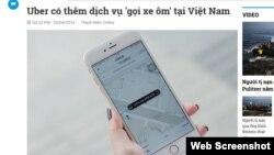 UberMoto sẽ được triển khai tại Việt Nam từ ngày 21.4. Ảnh chụp màn hình trang web thanhnien.vn