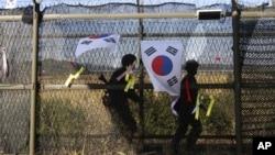 Suasana di sekitar zona demiliterisasi wilayah Paju, Korea Utara (15/10). Korea Utara mengancam akan menembaki Korea Selatan dengan artileri apabila para aktivis Selatan menjatuhkan selebaran anti-Pyongyang ke wilayahnya.