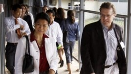 Cambodia-American lawyer Seng Theary, pictured here, at the Khmer Rouge tribunal court, ECCC.