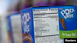 FILE - A Nutrition Facts label is seen on a box of Pop Tarts at a store in New York.