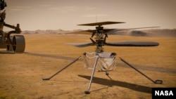 Para insinyur di Badan Penerbangan dan Antariksa (National Aeronautics and Space Administration/NASA)berencana mengirimhelikopter miniaturuntuk terbang di atas permukaan Mars bulan depan. (Foto: Courtesy/NASA)