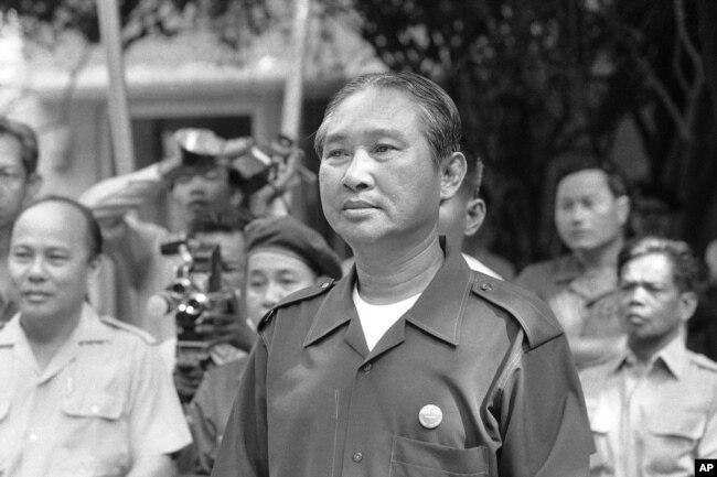 FILE - President Lon Nol in Cambodia in 1972.