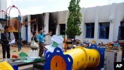 مدرسه آمریکایی مجاور سفارت آمریکا در تونس، یک روز پس از حمله تظاهرکنندگان خشمگین