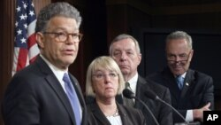Komisi Senat AS yang mengurusi masalah legislasi mengenai utang biaya pendidikan memberikan keterangan pers di Washington (foto: dok).