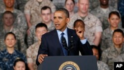 지난해 4월 한국을 방문한 바락 오바마 미국 대통령이 용산 미군기지에서 연설하고 있다. (자료사진)