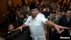FILE - Indonesian presidential candidate Prabowo Subianto.