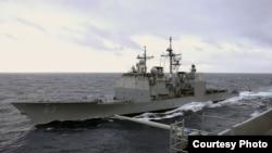 美国导弹巡洋舰考彭斯号(美国海军资料照片)
