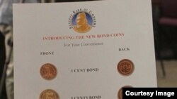 FILE: These special bond coins were disbursed to various Zimbabwean banks Thursday. (Picture: Reserve Bank of Zimbabwe)