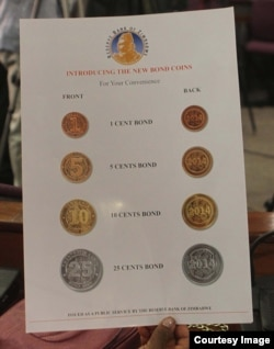 These special bond coins are currently circulating in Zimbabwe.