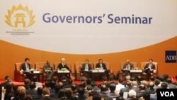 Kuroda, Presiden ADB berbicara pada sebuah seminar pada pertemuan tahunan ADB di Hanoi (05/04)