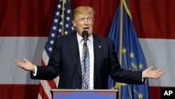 Kandidat presiden partai Republik Donald Trump berbicara di Westfield, negara bagian Indiana. (Foto: dok.)