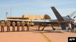 Drone reaper de l'armée française appartenant à l'opération anti-terroriste Barkhane, à Niamey, Niger, le 31 juillet 2017.