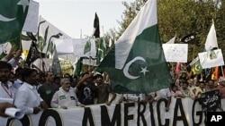 巴基斯坦民众9月28日举行反美集会,抗议美方指责巴间谍机构支持激进分子在阿富汗发动袭击
