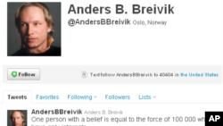 انٹرنیٹ پر رابطے کے معروف ذریعے 'ٹوئیٹر' پر وہ اکاؤنٹ جو اطلاعات کے مطابق بیرنگ بریوک کا ہے۔