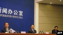 记者会现场,从左至右为朱维群、统战部副部长斯塔、西藏人大副主任尼玛次仁
