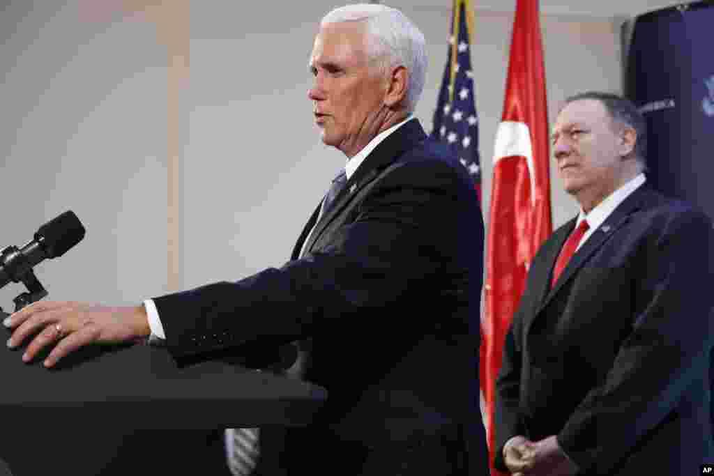 آقای پنس که یک هیئت بلندپایه آمریکا را در آنکارا رهبری می کرد غروب پنجشنبه ۲۵ مهر در یک کنفرانس خبری گفت: ترکیه عملیات چشمه صلح را متوقف میکند تا نیروهای کرد ظرف ۱۲۰ ساعت از منطقه خارج شوند.
