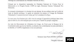 Message de condoléances de Jean-Pierre Bemba