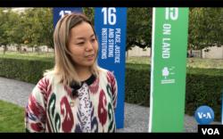 Tatyana Sin, Uzbekistan, UN Youth Climate Summit 2019, talks to VOA's Navbahor Imamova, New York, Septemer 23, 2019