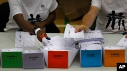 工党领袖科尔宾的选区正在清点他的选票(2017年6月9日)
