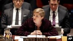 지난 3월 유엔 안보리의 새 대북 제재 결의 채택에 앞서 사만다 파워 유엔주재 미국 대사가 발언하고 있다. (자료사진)