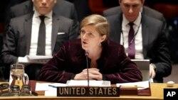 유엔 안보리가 새 대북 제재 결의안을 통과시킨 지난 3월 2일 안보리 회의장에서 사만다 파워 유엔주재 미국 대사가 발언하고 있다. (자료사진)