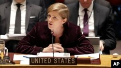 Samantha Power speaks to the UN Security Council after the sanctions vote.