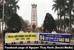 Các nhà hoạt động hôm 13/3 tưởng nhớ các liệt sĩ trân Gạc Ma tại nghĩa trang Tây Tựu, Hà Nội