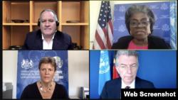 美國、英國和德國常駐聯合國代表5月12日在聯合國新疆人權網絡會議上發言(Zoom視頻會議截圖)
