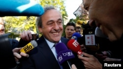 UEFA President Michel Platini arrives for a hearing at the Court of Arbitration for Sport (CAS) in an appeal against FIFA's ethics committee's ban, in Lausanne, Switzerland, April 29, 2016.