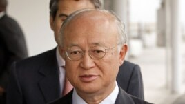 Director General of the International Atomic Energy Agency, Yukiya Amano from Japan, speaks to the media before his flight to Iran at Vienna International Airport, Austria, May 20, 2012.