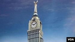 Ilustrasi gambar rencana pembangunan menara 'Abraj Al-Bait' yang juga dikenal sebagai menara jam Makkah, yang diperkirakan akan selesai seluruhnya tahun 2011. Jam Mekkah dengan ukuran 43mx43m merupakan jam terbesar di dunia dan mulai berdetak tanggal 1 Ra