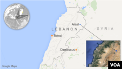 Map showing the location of Arsal, Lebanon