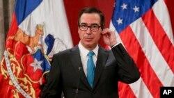 El secretario del Tesoro de Estados Unidos, Steve Mnuchin, habló sobre las sanciones a funcionarios venezolanos durante una visita a Chile.