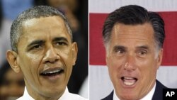 President Barack Obama and Republican presidential candidate, former Massachusetts Gov. Mitt Romney, April 2012.