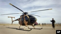 Một máy bay trực thăng do Hoa Kỳ tặng cho các lực lượng Afghanistan tại căn cứ không quân Afghanistan ở tỉnh Herat. Taliban tuyên bố đã bắn hạ một máy bay của NATO ở nước này.