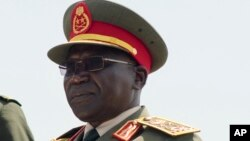 FILE - South Sudan's former army chief, Paul Malong. On Sept. 6, 2017, the Trump administration imposed sanctions on two senior members of South Sudan's government and army chief, Paul Malong.